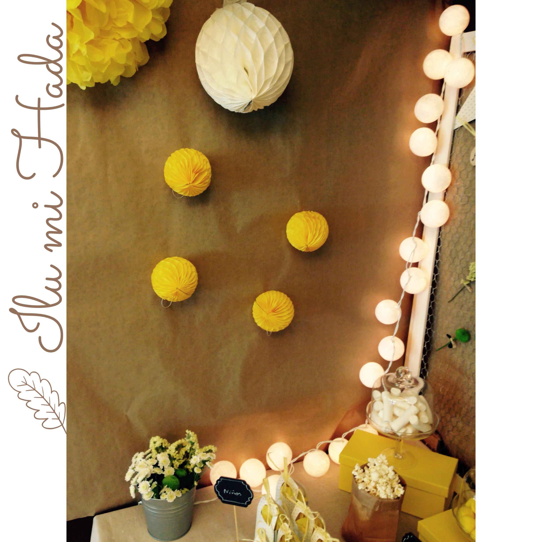 6. Lateral pompones y bolas nido de abeja