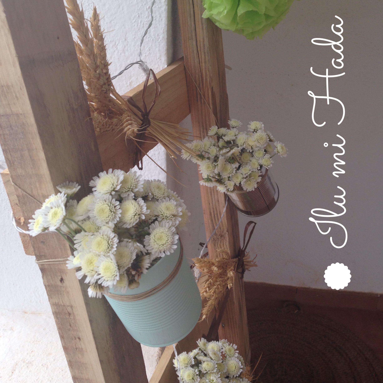 3. Escalera con flores y trigo